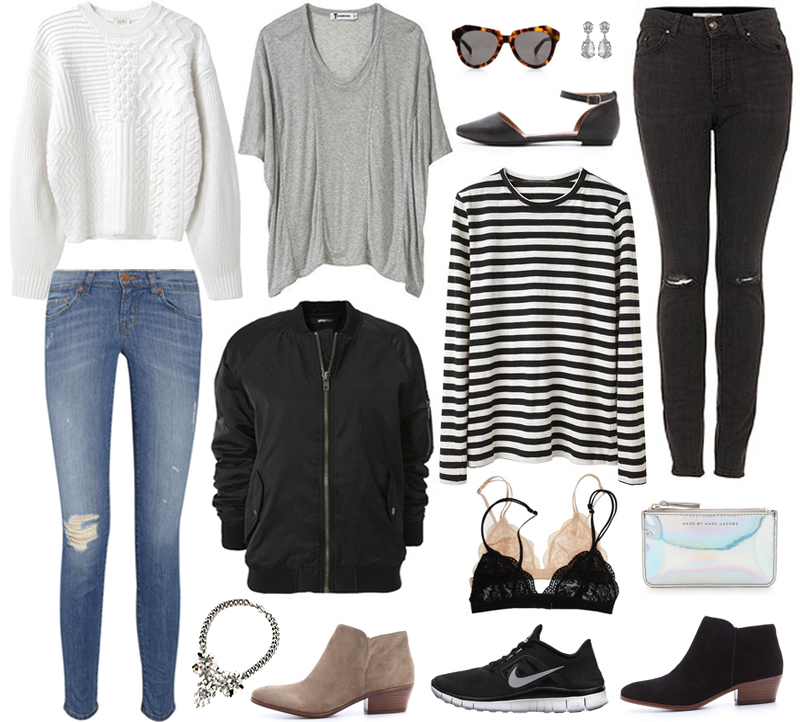outfit, outfit ideas, styling, outfits with jeans, styling jeans, white jumper, how to wear striped top, how to wear white jumper, nike shoes, grey tee, bomber jacket, wardrobe essentials, wardrobe staples