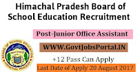 Himachal Pradesh Board of School Education Recruitment 2017– 39 Junior Office Assistant