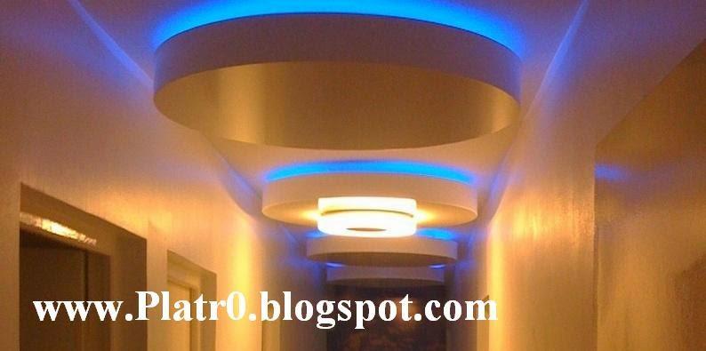Plafond Platre Couloir LED - Décoration Platre Maroc - Faux Plafond ...