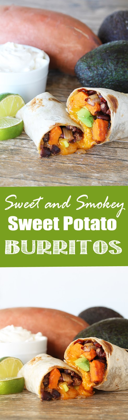 These healthy vegetarian sweet potato burritos are sweet, salt, and a little smokey.