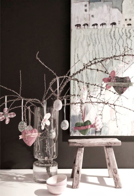 perfect spring decoration with pale pink and grey egg and hearts on branches