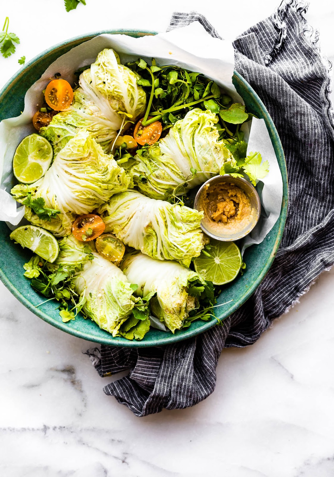 Miso Mango Chicken Salad Cabbage Wraps {No Mayo} - paleo