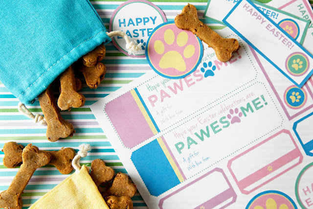 Pastel Easter dog treat tags and labels with colourful draw string bags of bone shaped treats