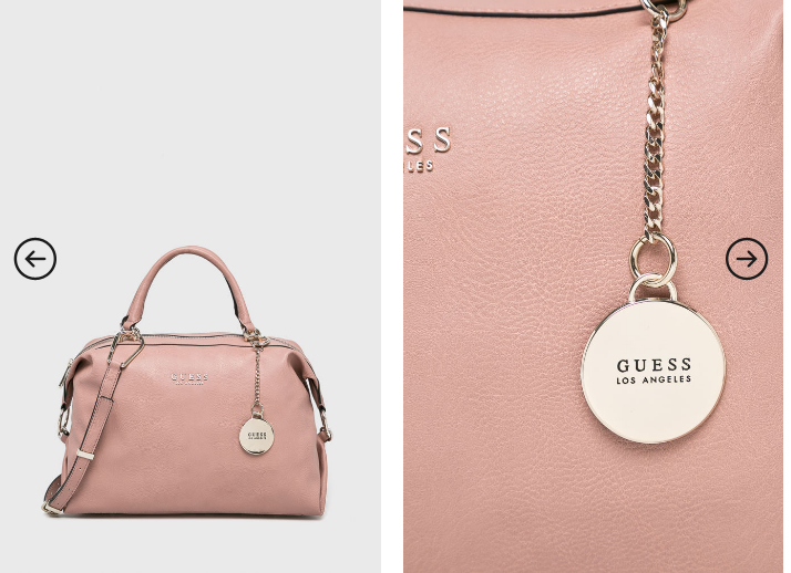 Guess Jeans - Poseta casual roz frumoasa cu logo auriu tip medalion