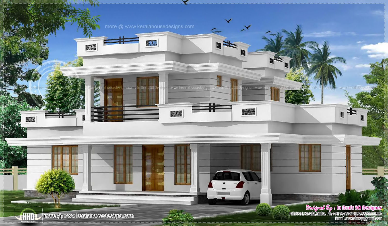 3 bed room flat roof villa with courtyard 2172 sq ft for Three bedroom house plans kerala style