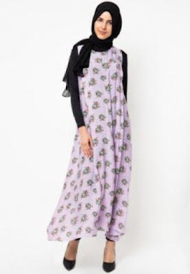 Model Gamis Muslim Batik Sifon Modern Terbaru