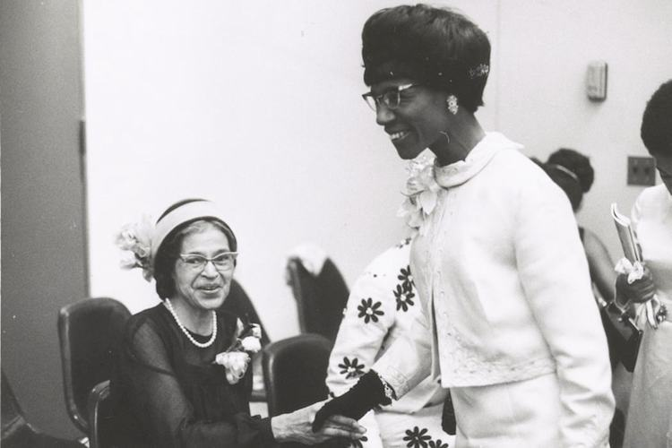 Shirley Chisholm and Rosa Parks, first black female U.S. Representative, elected in 1968 by the voters of New York's 12th Congressional District.  the first major-party black candidate for President in 1972
