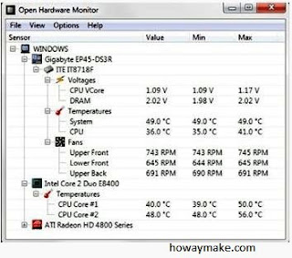 How to check CPU temp and fan speed
