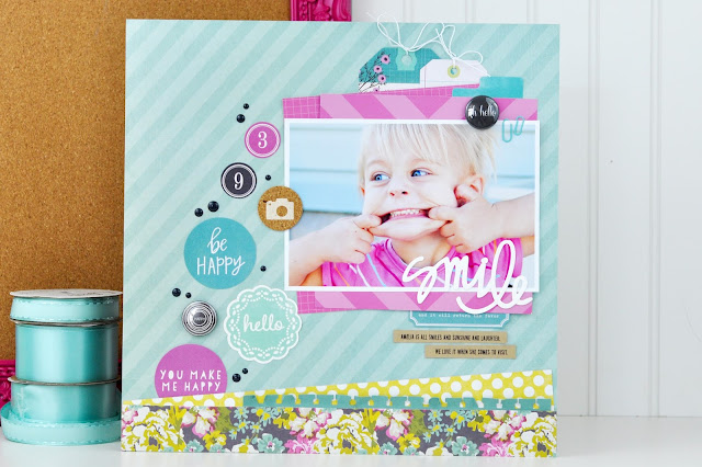 """Smile"" Scrapbooking layout by Jen Gallacher from www.jengallacher.com (includes video). #scrapbooking"