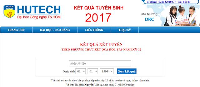 Trường Đại học Hutech công bố kết quả tuyển sinh năm 2017