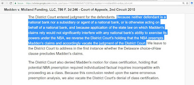 The Second Circuit's key holding in Madden v Midland Funding