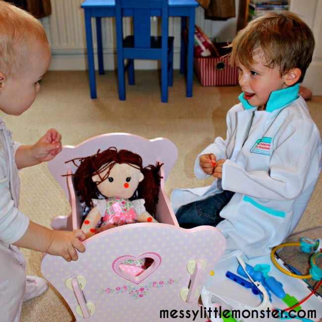 doctors pretend play with dolls for toddlers and preschoolers: miss polly had a dolly