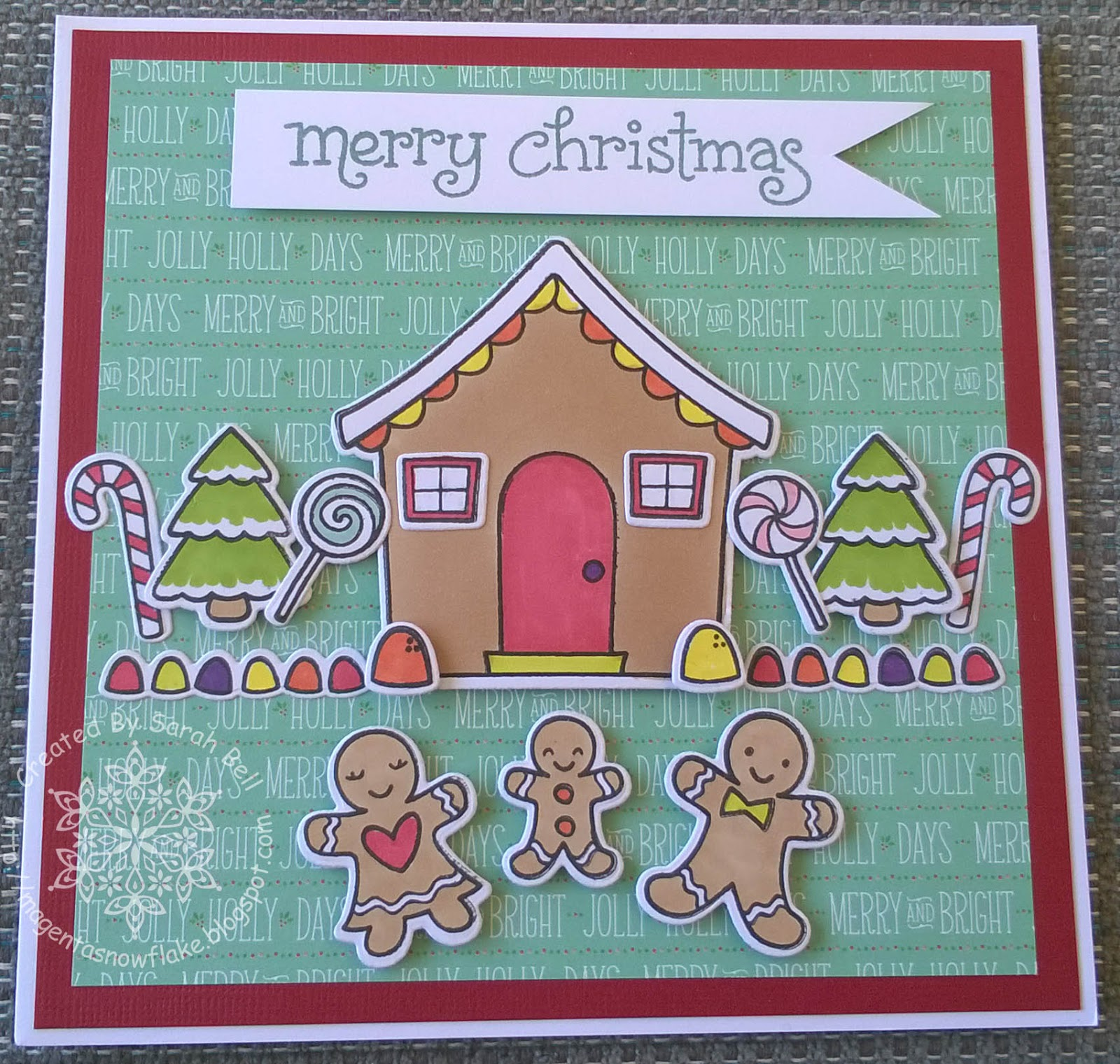 Magenta snowflake designs gingerbread house christmas card using i stamped all the elements from the stamp set sweet christmas onto white cardstock and coloured using pro markers the die cut the elements using the kristyandbryce Gallery