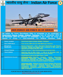 Indian Air Force IAF Recruitment Rally at Siddipet Telangana Group Y Non Technical Airmen Jobs
