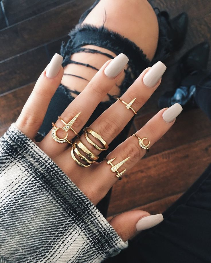 Half Moon Flower Power BoHo Nails With Gold Obelisk Ring Set