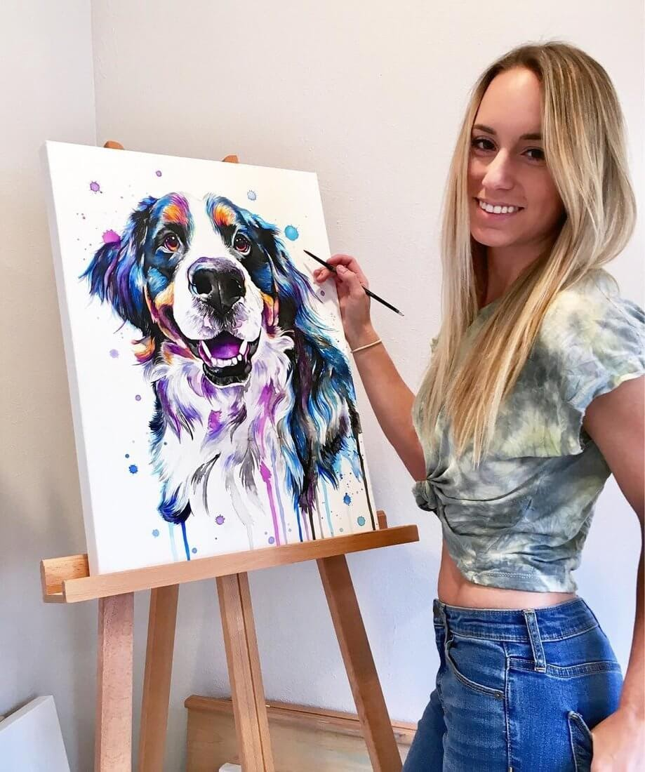 09-Dog-Lindsay-Michelle-Colorful-Domestic-and-Wild-Animal-Paintings