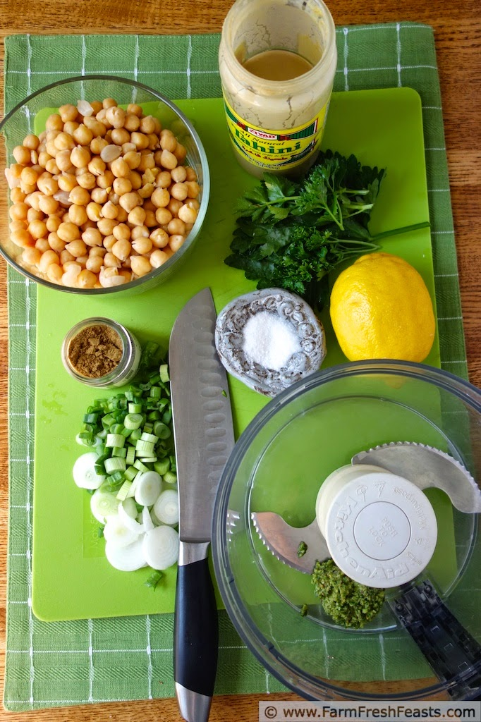Garlic scapes, basil, parsley and pistachios combined in a traditional hummus base for a fresh Spring dip. Freeze the pesto to make this year round!