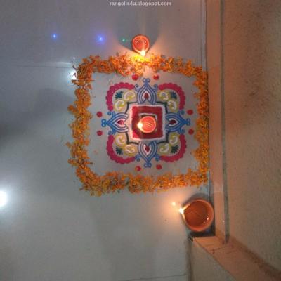 Flower Design Rangolis