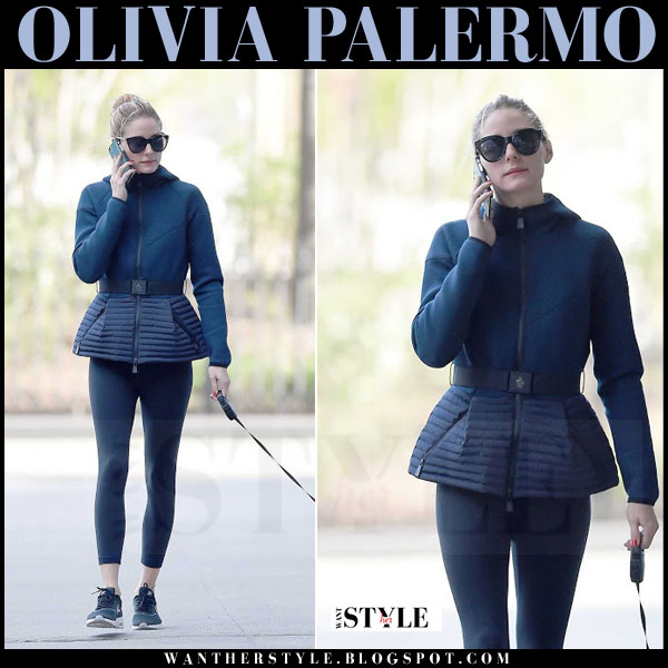 Olivia Palermo in blue belted peplum jacket, black leggings and black sunglasses le specs halfmoon magic what she wore casual outfit