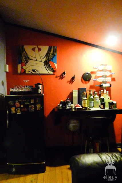red wall bar area man cave