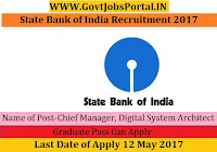 State Bank of India Recruitment 2017– Chief Manager, Digital System Architect
