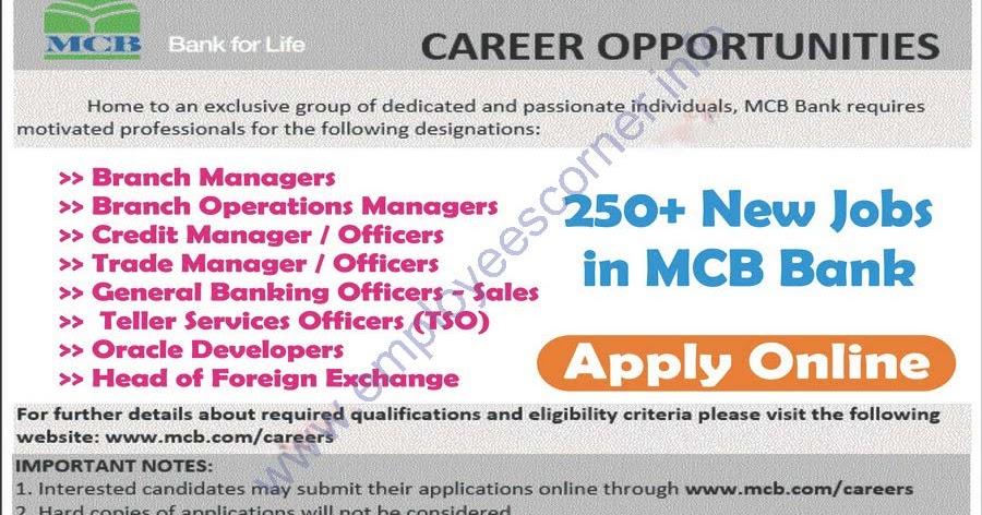 online apply bank jobs 2016