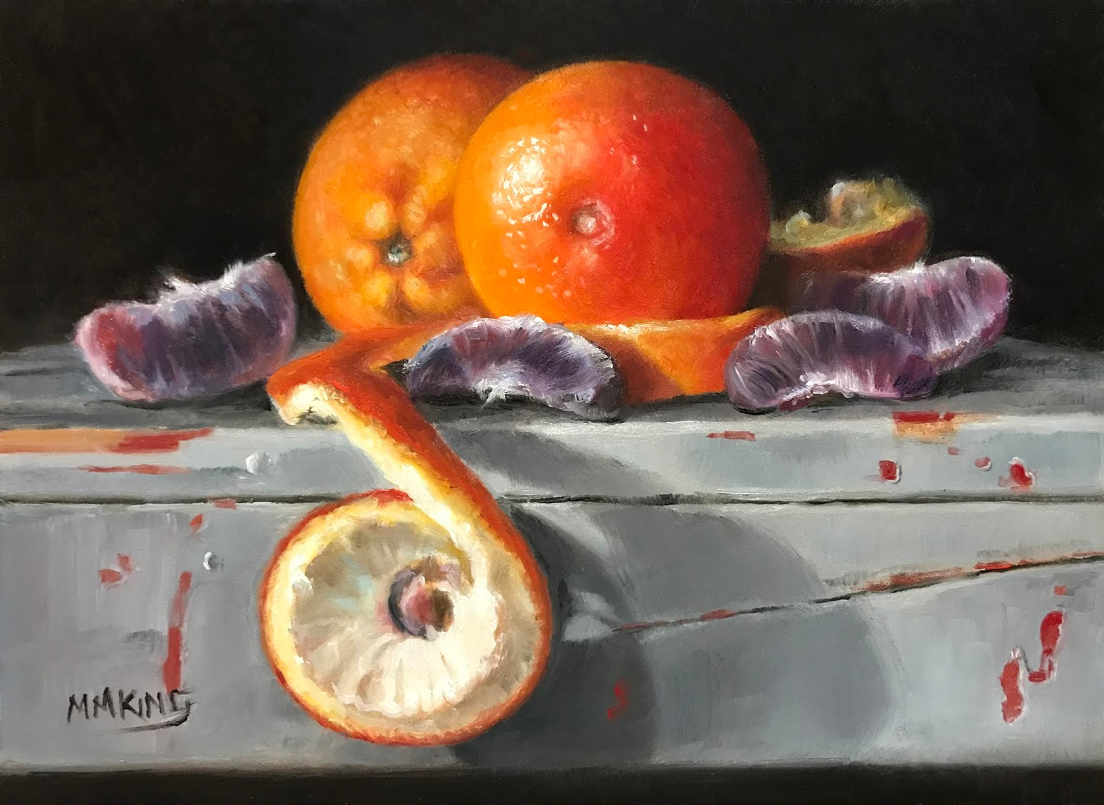 Awesome Small Oil Paintings Blood Orange On Old Stool Gmtry Best Dining Table And Chair Ideas Images Gmtryco