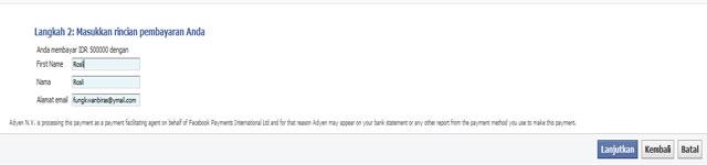 memasukkan rincian pembayaran belanja iklan facebook