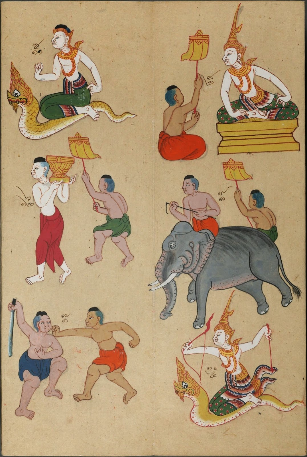 colour drawing of astrological figures from Thai zodiac