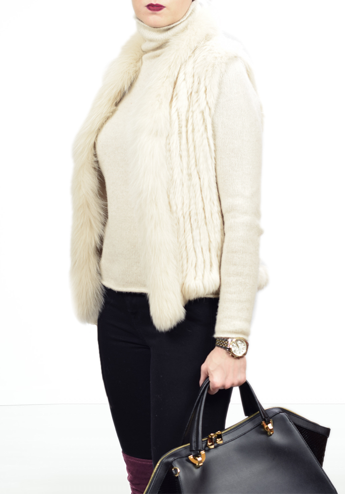 fur vest, zac posen eartha handbag, over the knee boots