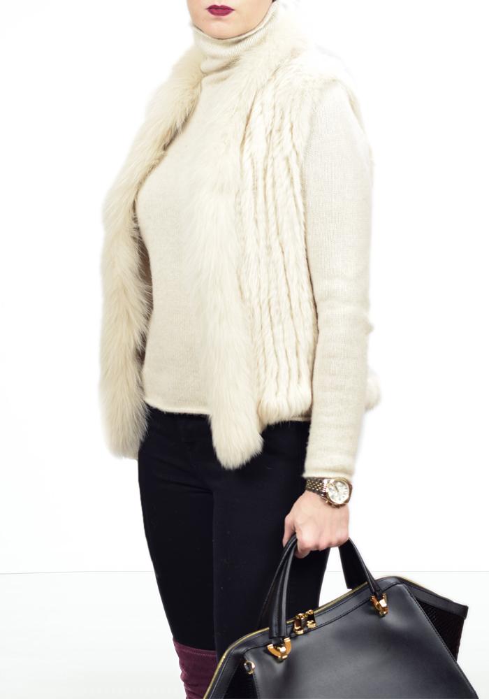 fur vest, zac posen eartha handbag, over the knee boots