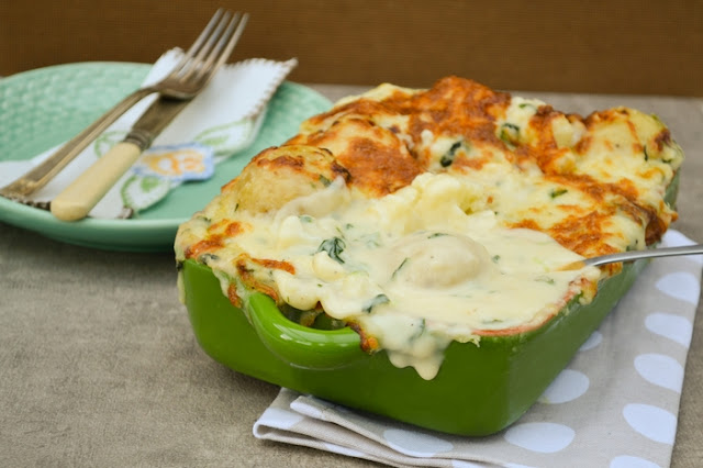 Cheesy Cauliflower Potato Bake with Spinach
