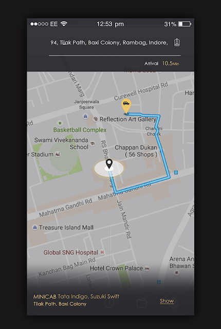 Taxi App Ride Map Direction Screen