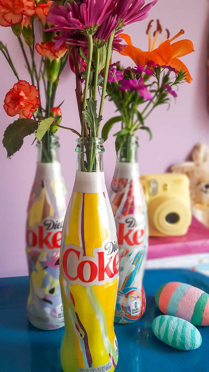 "The limited time Diet Coke ""It's Mine"" bottles make colorful vases, perfect for a girl's room! 