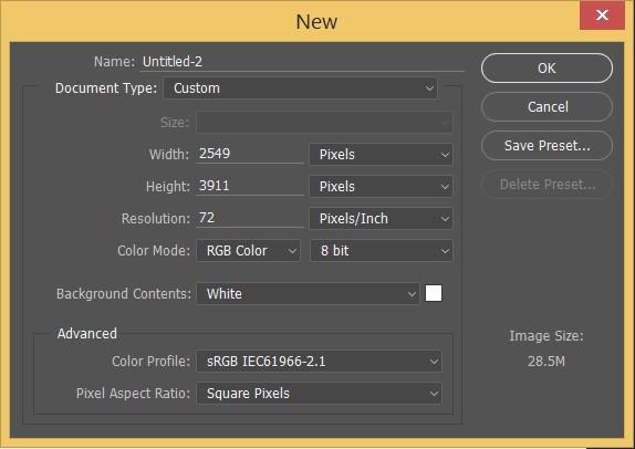 Adobe Photoshop New Document
