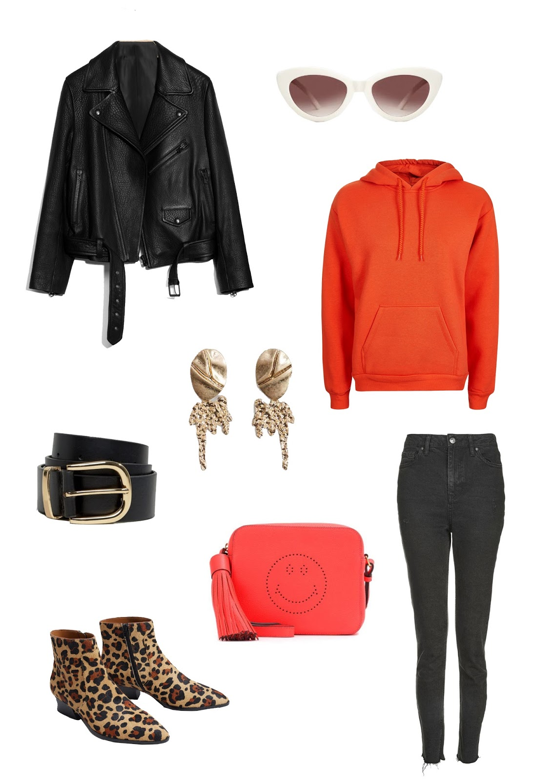 leather jacket, transitional, wardrobe, cat eye glasses, leopard boots, red hoodie, raw edge jeans, gold statement earrings