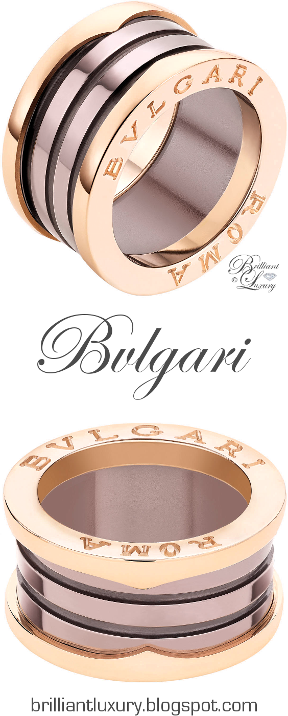 Brilliant Luxury ♦ Bvlgari B.Zero1 Roma 4-band 18 kt rose gold ring with bronze ceramic
