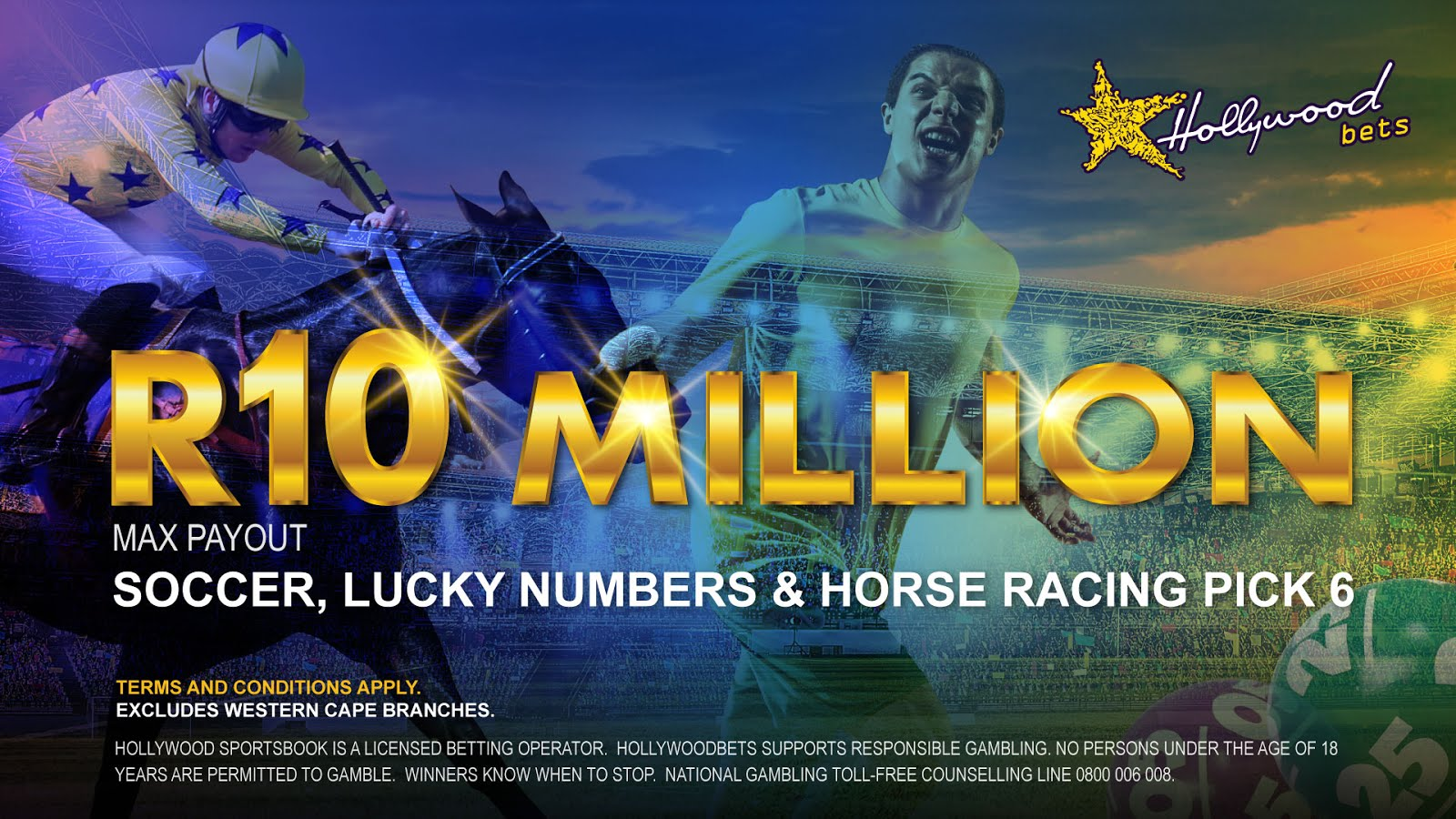 R10 Million Max Payout at Hollywoodbets - Soccer, Lucky Numbers and Horse Racing Pick 6
