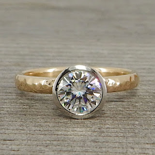 hammered moissanite ring