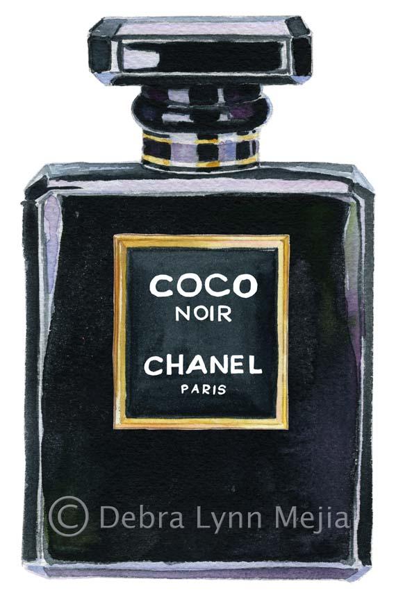 debra lynn mejia: Coco Chanel Noir Perfume Print