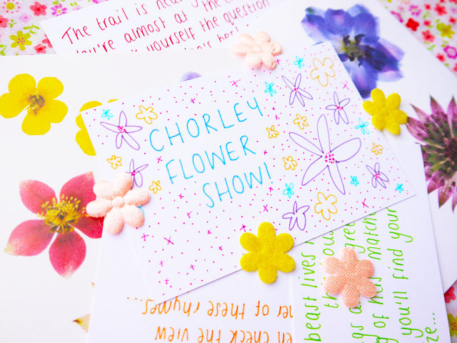 handwritten clues and a note reading 'chorley flower show'