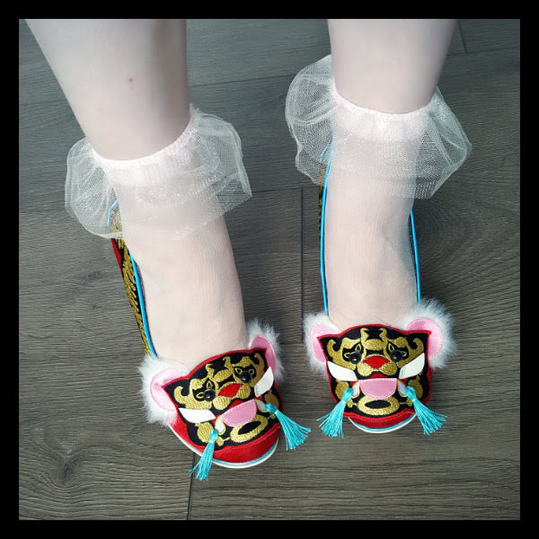 Irregular Choice Ruby Envelope with asos tulle frill ankle socks
