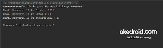 Output Hasil Contoh Program Konversi Desimal ke Biner Desimal ke Oktal Desimal ke Hexa di Java
