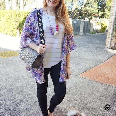 awayfromblue instagram print mixing foil stripe tee purple kimono skinny jeans outfit
