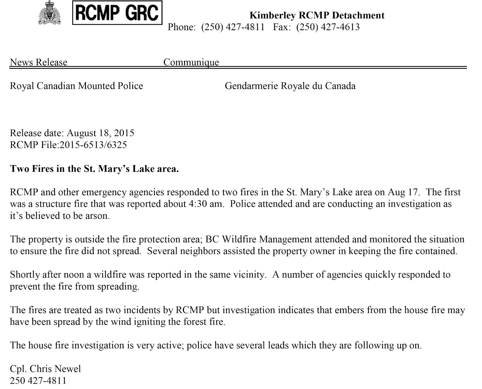 The Cranbrook Guardian Release From Rcmp Re St Mary S