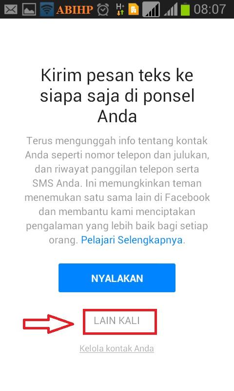 Selanjutnya pilih lain kali untuk kirim pesan lewat Messenger.