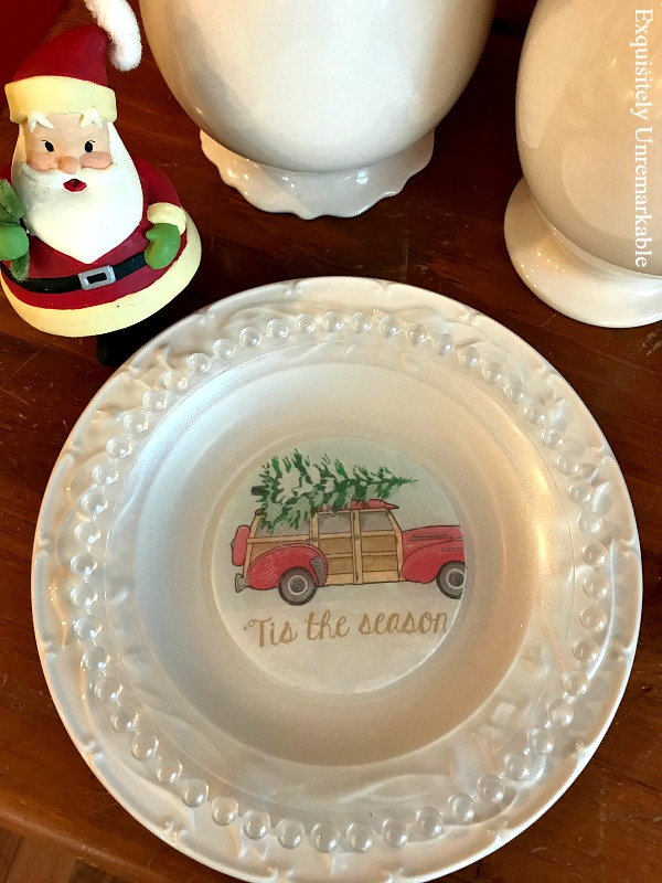 Red Christmas Truck glass Plate with napkin DIY on table with Santa