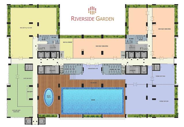 Bố trí bể bơi bên trong dự án Riverside Garden