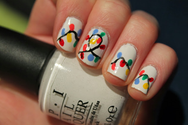 Christmas Nail Art - White Multi-coloured fairy lights