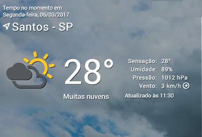 Previsão do tempo de Santos, para o dia de hoje